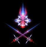 Espadas y emblema del laser Imagen de archivo libre de regalías