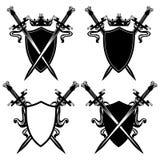 Espadas y escudos Foto de archivo libre de regalías