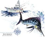 espadons illustration de Marlin d'aquarelle Image stock
