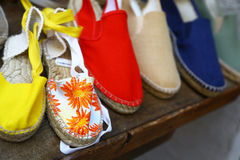 Espadrillas, typical spanish shoes Stock Photos