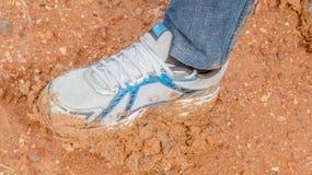 Espadrille blanche dans la boue Photos libres de droits