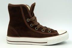 Espadrille de toile de Brown - chaussure d'adolescent Photographie stock libre de droits