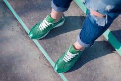 Espadrilles à la mode vertes Photos stock