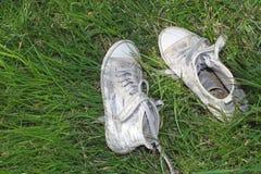 Espadrilles avec les paillettes brillantes sur l'herbe verte naturelle Photo libre de droits