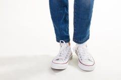 Espadrilles blanches à la mode Images libres de droits