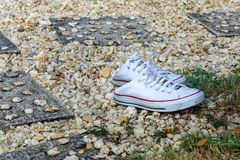 Espadrilles blanches, chaussures de toile Photos stock