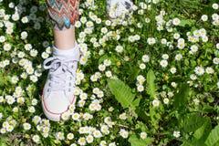 Espadrilles blanches dans un domaine dasiy Belle femme marchant près Images libres de droits