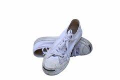 Espadrilles blanches sales dans d'isolement Photographie stock libre de droits