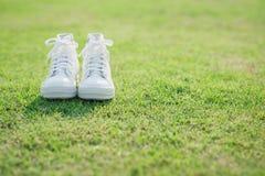 Espadrilles blanches sur l'herbe verte Photo libre de droits