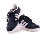 Espadrilles bleues d'Adidas pour courir, s'exerçant, dans gris et bleu Photographie stock libre de droits