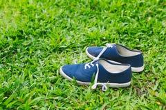 Espadrilles bleues sur l'herbe verte Images stock
