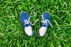 Espadrilles bleues sur l'herbe verte Photo libre de droits