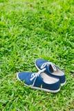 Espadrilles bleues sur l'herbe verte Image stock