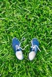 Espadrilles bleues sur l'herbe verte Photographie stock