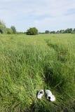Espadrilles dans l'herbe grande dans le pré Photographie stock libre de droits