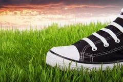 Espadrilles de la jeunesse dans l'herbe verte au coucher du soleil Photographie stock libre de droits