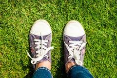 Espadrilles de la jeunesse sur des jambes de fille sur l'herbe Images stock