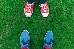 Espadrilles de la jeunesse sur les jambes et l'herbe pendant le jour d'été ensoleillé Photographie stock