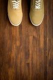 Espadrilles de Trevelaing sur le fond en bois Photographie stock