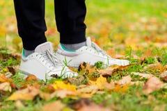 Espadrilles du ` s d'hommes sur leurs pieds dans l'herbe Photo stock
