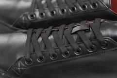 Espadrilles en cuir noires Photo libre de droits