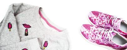 Espadrilles et pulls molletonnés du ` s de femmes à la mode d'achat de bannière Images stock