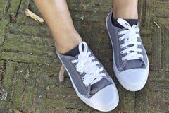 Espadrilles grises avec le mode de vie modèle Photo libre de droits