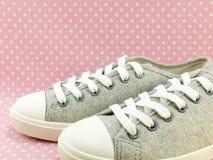 Espadrilles grises de couleur pour la dame avec le fond rose de point de polka Images stock