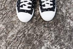 Espadrilles noires et blanches de femme de point sur le plancher en béton Image libre de droits
