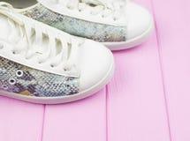 Espadrilles occasionnelles femelles de blanc et de couleur de turquoise Image libre de droits