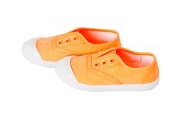 Espadrilles oranges de tissu de bébé Image stock