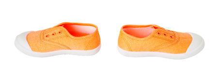Espadrilles oranges de tissu de bébé Photos libres de droits