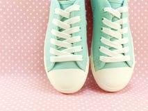 Espadrilles pour la dame avec le point de polka rose Photo libre de droits