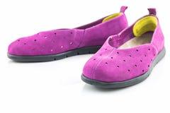 Espadrilles pourprées Chaussure de toile Photo stock