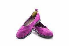 Espadrilles pourprées Chaussure de toile Photos stock