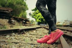 Espadrilles roses sur le chemin de fer Photographie stock libre de droits
