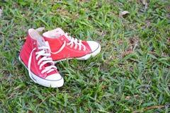 Espadrilles rouges sur le vert Photos stock