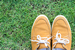 Espadrilles sur l'herbe, vue supérieure Photo libre de droits