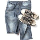 Espadrilles sur le pantalon de treillis Photo libre de droits