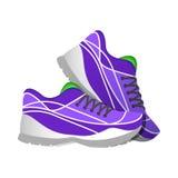 Espadrilles violettes de sport, illustrations modernes dans le style plat Images stock