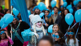 Espagnol Carnaval à Barcelone dans le temps de soirée catalonia Images libres de droits