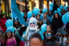 Espagnol Carnaval à Barcelone dans le temps de soirée La Catalogne, Espagne Photographie stock