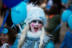 Espagnol Carnaval à Barcelone dans le temps de soirée La Catalogne, Spai Photos stock