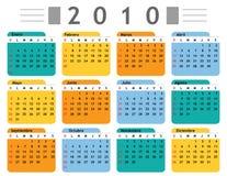 Espagnol du calendrier 2010 illustration stock