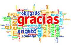 Espagnol Gracias, nuage ouvert de Word, merci, sur le blanc Images libres de droits