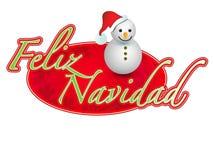 Espagnol - signe de bonhomme de neige de Joyeux Noël Image stock