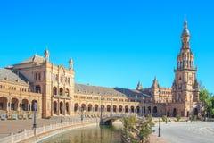 Espagnol Square Plaza de Espana à Séville Photographie stock libre de droits