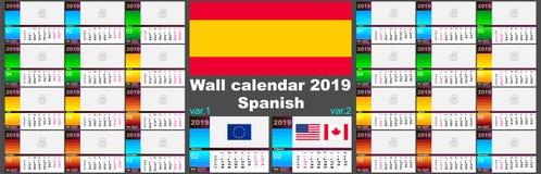 2019 Espagnols, calendrier mural hispanique Deux calibres d'OIN 8601 pour l'Europe et les Etats-Unis Canada avec la numérotation  illustration libre de droits
