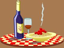 Espaguete & vinho Fotos de Stock Royalty Free