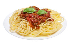 Espaguete bolonhês isolado Fotografia de Stock